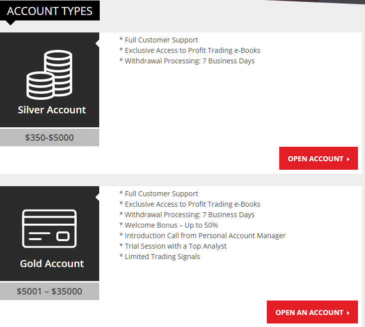 Trading at UltraTrade: Accounts