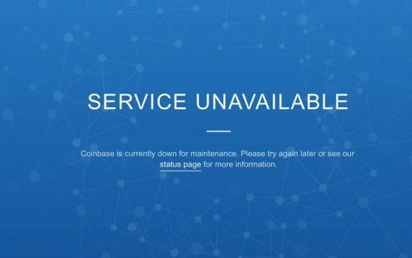 Service unavailable on Coinbase website