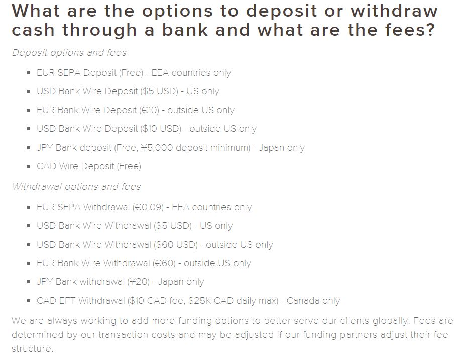 Kraken Banking Options
